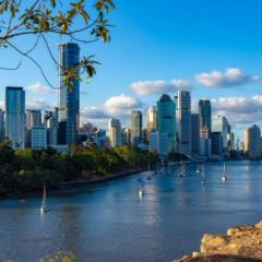 view over the city on the Brisbane River, Queensland, Australia