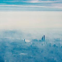 aerial view of fog bound city